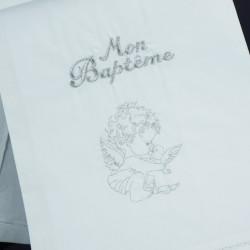 Linge lange serviette étole vêtement blanc de baptême N10