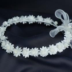 Couronne de fleurs blanche pour cérémonie fille C4
