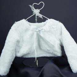 Boléro fourrure cérémonie bébé fille blanc