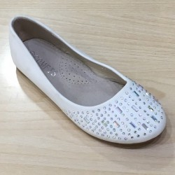 Ballerines ceremonie fille ivoire strass
