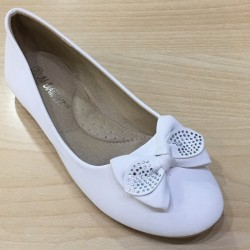 Ballerines ceremonie fille ivoire noeud strass