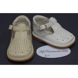 Chaussures cérémonie baptême cuir blanc ou beige