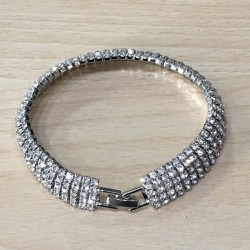 Bracelet argenté strass 9 rangs
