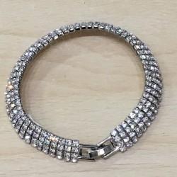Bracelet argenté strass 4 rangs