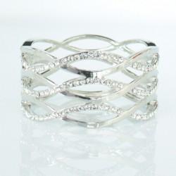 Bracelet rigide argenté strass