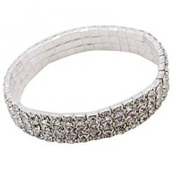 Bracelet elastique strass argenté 1 rang