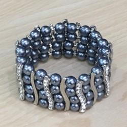 Bracelet elastique strass argenté perles grises