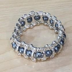 Bracelet elastique argenté perles grises