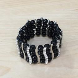 Bracelet elastique argenté perles noires