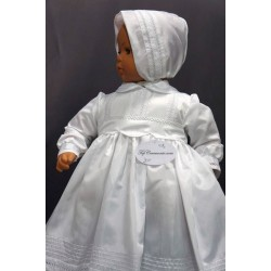 Robe longue de baptême traditionnelle blanche bébé ADELE