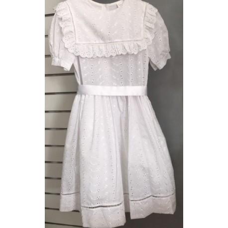 Robe Blanche De Communion Coton Broderie Anglaise