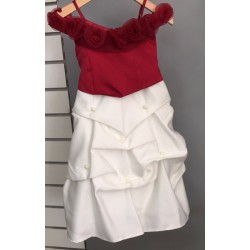Robe fille princesse ivoire bordeaux