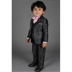 """Costume cérémonie bébé garçon 3 pièces """"Les petits mecs"""" NATHAN gris anthracite"""