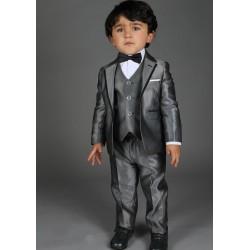 """Costume cérémonie bébé garçon 3 pièces """"Les petits mecs"""" NATHAN gris argent"""
