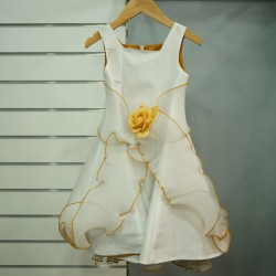 Robe fille mariage ivoire ocre