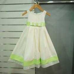 Robe habillée fille ivoire vert anis