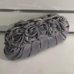 Pochette de soirée satin gris fleurs