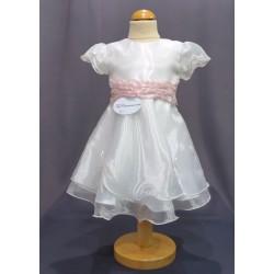 Robe baptême blanche bébé fille PO 1019MC