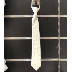Cravate garçon satin motifs blanc