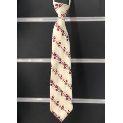 Cravate garçon satin motifs ivoire bordeaux