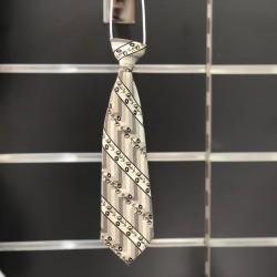 Cravate garçon satin motifs ivoire noir