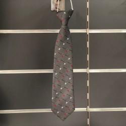 Cravate garçon motif fantaisie gris rouge