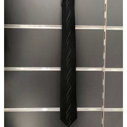 Cravate garçon noire motifs gris à nouer comme papa