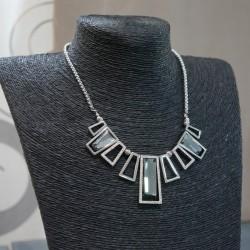 Collier argenté strass cristal gris
