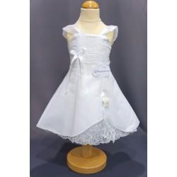 Robe baptême blanche bébé fille CR 001SM