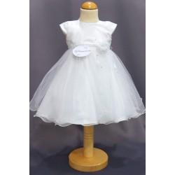 Robe cérémonie baptême blanche bébé fille PO 2027PU