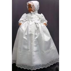 Robe longue de baptême traditionnelle blanche bébé SERENA