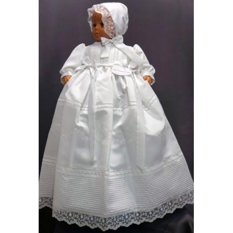 stable quality finest selection clearance sale Robe de baptême longue traditionnelle blanche bébé chapeau assorti