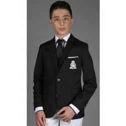 Veste Blazer enfant noir avec écusson de la marque Les Petits Mecs
