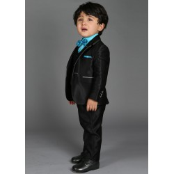 """Costume cérémonie bébé garçon 3 pièces """"Les petits mecs"""" NATHAN noir"""