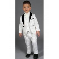 """Costume de baptême bébé garçon 3 pièces """"Les petits mecs"""" baptême JEAN ivoire"""