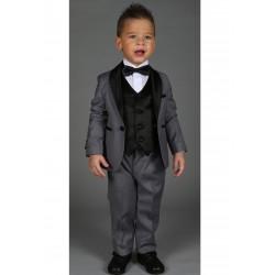 """Costume cérémonie bébé garçon 3 pièces """"Les petits mecs"""" JEAN gris"""