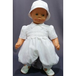 Barboteuse cérémonie baptême blanche bébé garçon ROMAIN 1