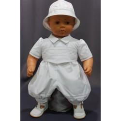 Barboteuse cérémonie baptême blanche bébé garçon MATHIS