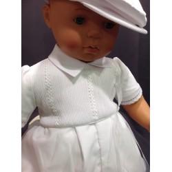 Barboteuse cérémonie baptême blanche bébé garçon PAUL
