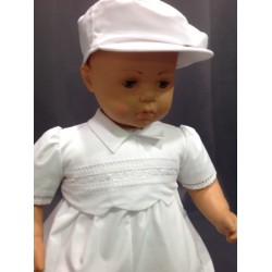 Barboteuse cérémonie baptême blanche bébé garçon VALENTIN