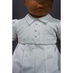 Barboteuse cérémonie baptême blanche bébé garçon LOUIS
