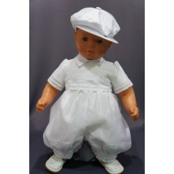 Barboteuse cérémonie baptême blanche bébé garçon ANTOINE