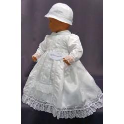 Robe longue de baptême traditionnelle blanche bébé SYNA