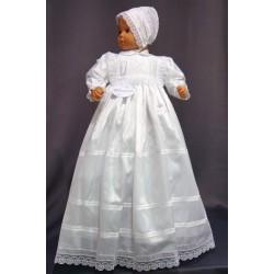 Robe longue de baptême traditionnelle blanche bébé SYLVIE