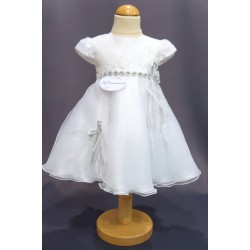Robe baptême blanche bébé fille PO 1001MC