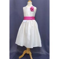 Robe ivoire taffetas fille REF CHJ 0005SM