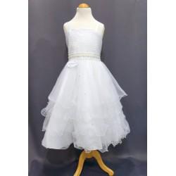 Robe blanche cérémonie fille REF CHJ 0009SM