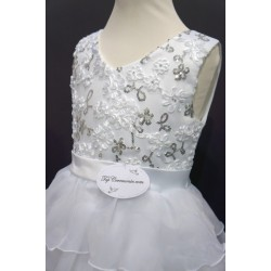Robe blanche sequins argent fille REF CHJ 0010SM