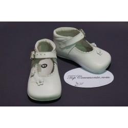 Chaussures babies baptême bébé fille cuir blanc