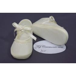 Chaussures babies baptême tissus ivoire